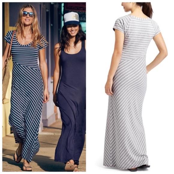 cc03477b0e Athleta Dresses & Skirts - Athleta Makai Striped Maxi Dress Gray White